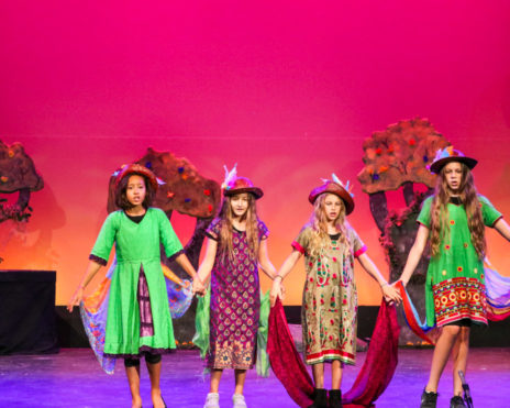Group of kids holding hands in costume on stage