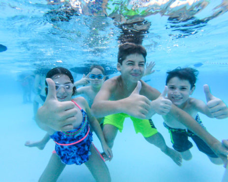 Group of kids under water in the pool