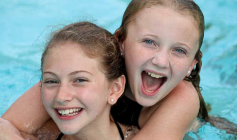 Two girls in the pool