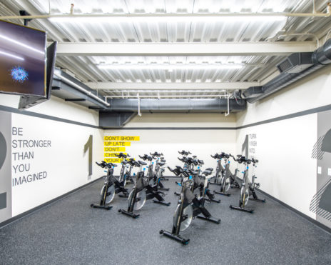 Stationery bikes in a gym room