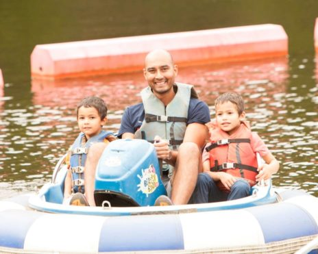 Kids and adult boating