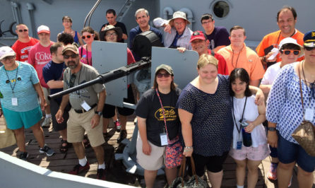 Special needs people at a group outing